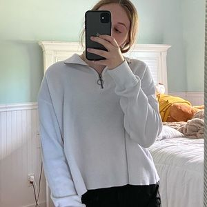 Hollister white collared sweater.